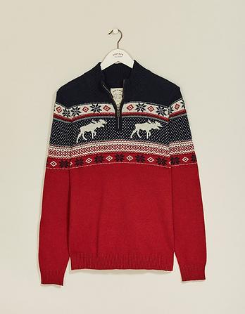Buriton Fairisle Half Neck Christmas Sweater