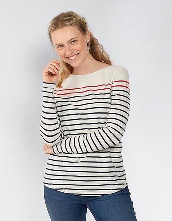 Organic Cotton Contrast Stripe Breton T-Shirt
