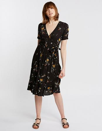 Willa Windswept Posy Wrap Midi Dress