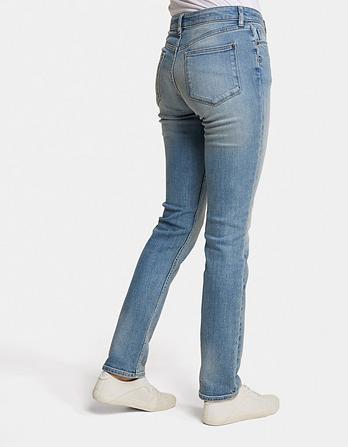Light Wash Slim Straight Jeans