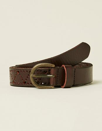 Heart Cut Out Leather Belt
