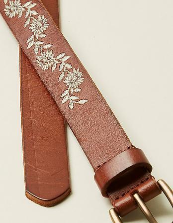Floral Embroidered Leather Belt