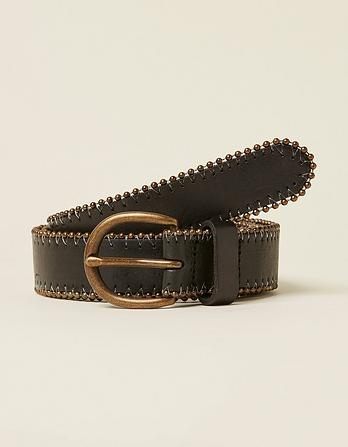 Stud Edge Leather Belt