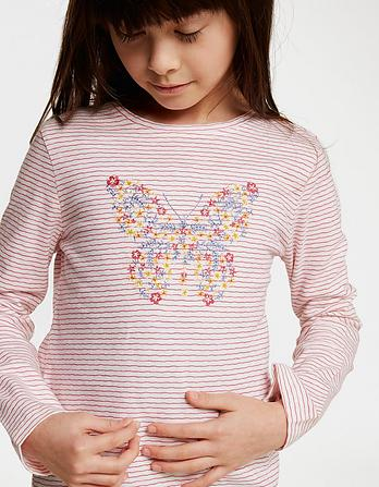 Butterfly Embroidered Stripe T-Shirt