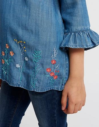 Embroidered Flute Sleeve Blouse