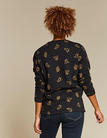 Crochet Floral Crew Neck Sweatshirt