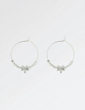 Bead and Star Hoop Earrings