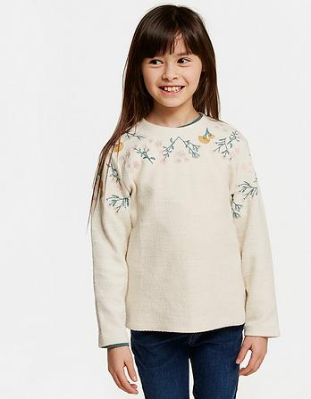 Button Back Embroidered Sweatshirt