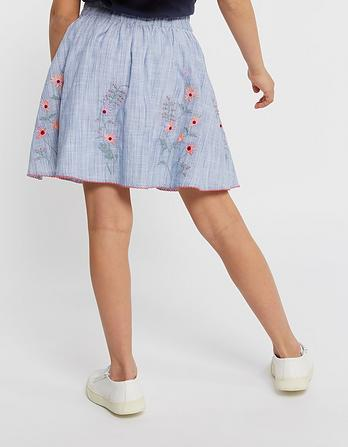 Embroidered Fine Stripe Skirt