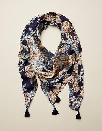 Tapestry Floral Square Scarf