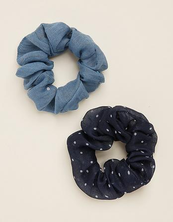 Two Pack Polka Dot Hair Scrunchies