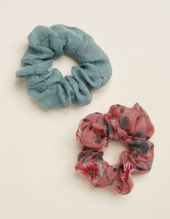 Two Pack Posy Floral Hair Scrunchies