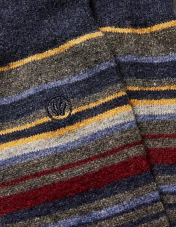 Wool Blend Fine Stripe Socks