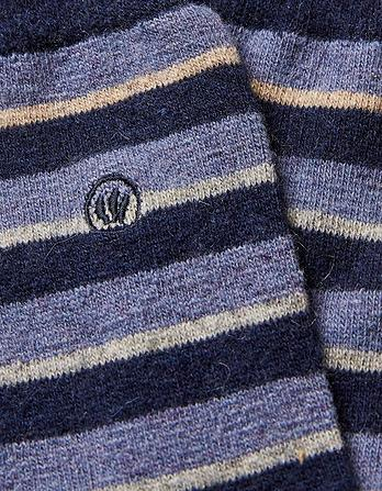 Mens Wool Blend Stripe Socks