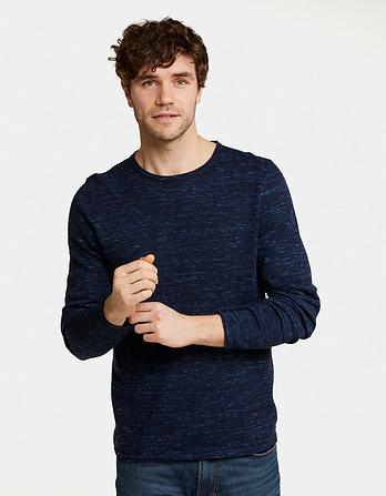 Cotton Cashmere Roll Crew Neck Sweater