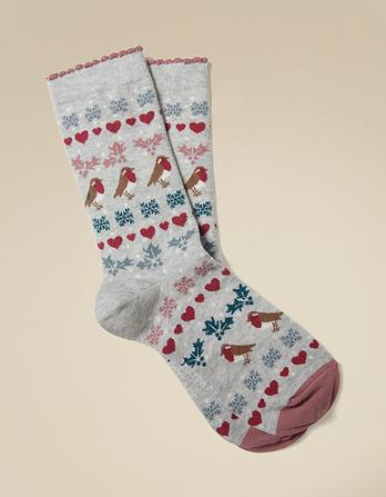 One Pack Robin Fairisle Socks