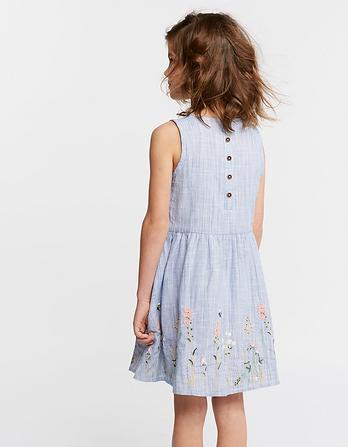 Embroidered Fine Stripe Dress