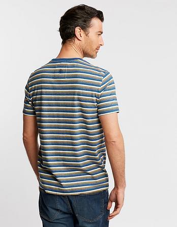 Telham Indigo Stripe Organic Cotton T-Shirt