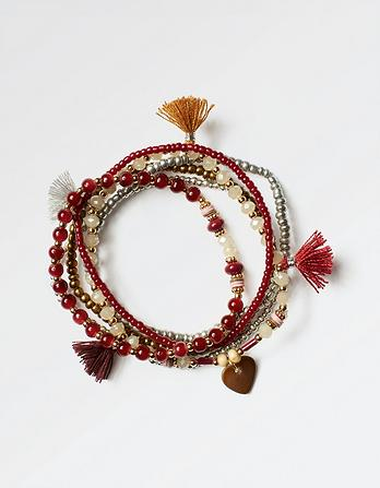 Bead And Tassel Multi Bracelet
