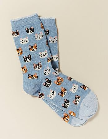 One Pack Cat Faces Socks
