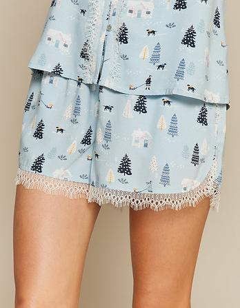 Nordic Lace Pajama Shorts