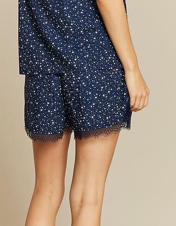 Scatter Stars Lace Pajama Shorts