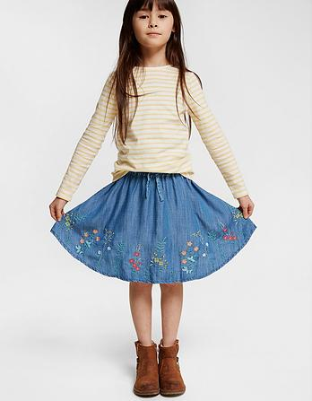 Embroidered Woven Skirt