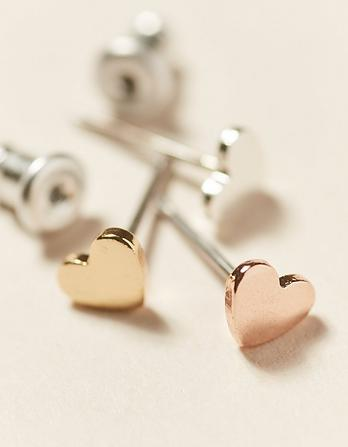 Three Pack Heart Stud Earrings
