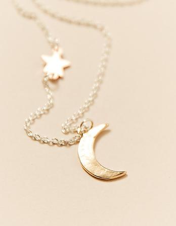 Star and Moon Short Necklace
