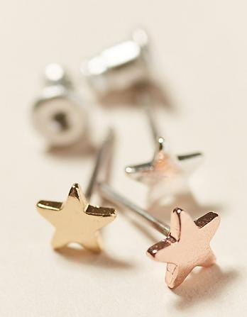 Three Pack Star Stud Earrings