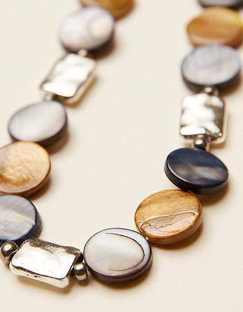 Bead Disc And Metal Necklace