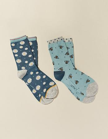 Two Pack Bee Bamboo Socks
