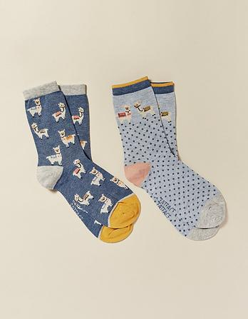 Two Pack Llama Bamboo Socks