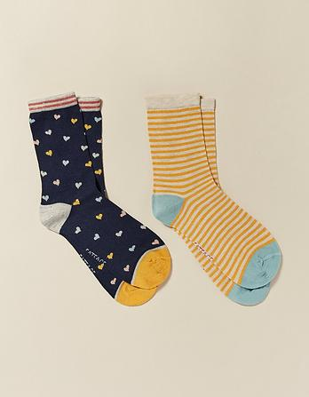 Two Pack Heart Bamboo Socks