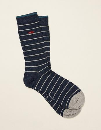 One Pack Shark Embroidered Socks