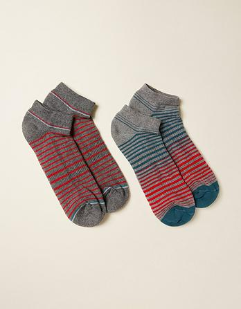 Two Pack Stripe Sport Socks