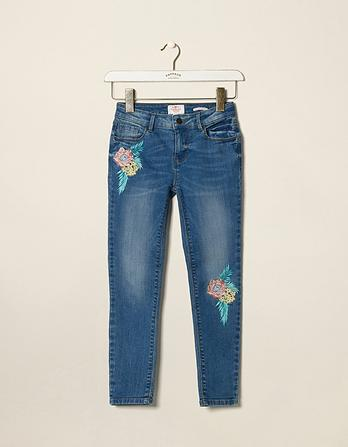 Mid Wash Embroidered Slim Jeans