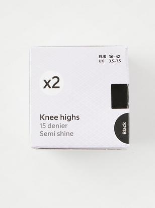 2-pack Knee Highs, 15 denier Black