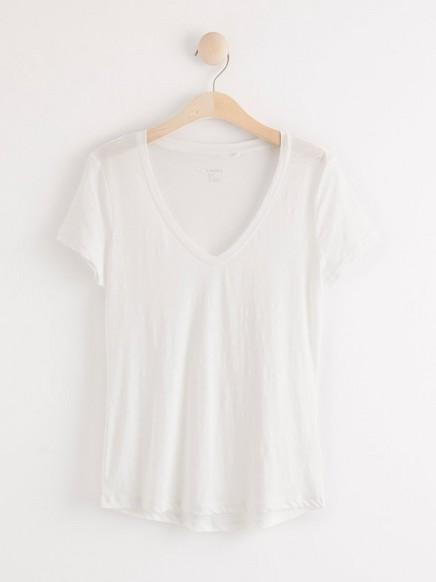 Lyhythihainen t-paita, jossa v-pääntie Valkoinen