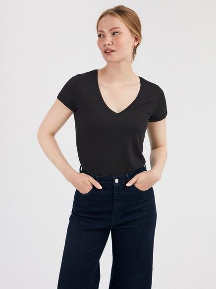Lyhythihainen t-paita, jossa v-pääntie Musta