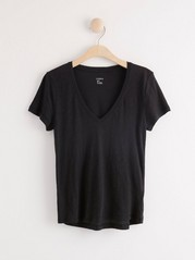 Short sleeve v-neck t-shirt Black
