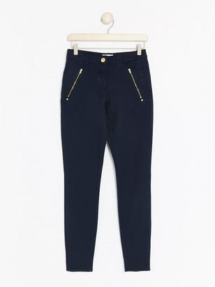 MOA Navy Blue Skinny Trousers  Blue