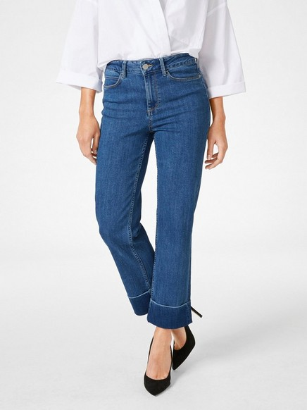 Slim High Ankle Jeans Blå