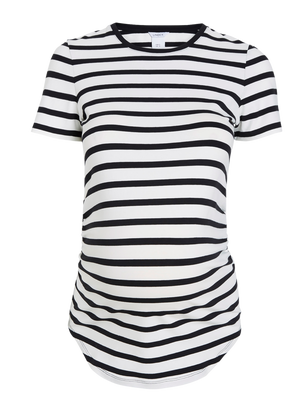 MOM Striped Jersey Top White