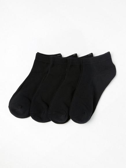 Kotníkové ponožky, 4 páry Černá
