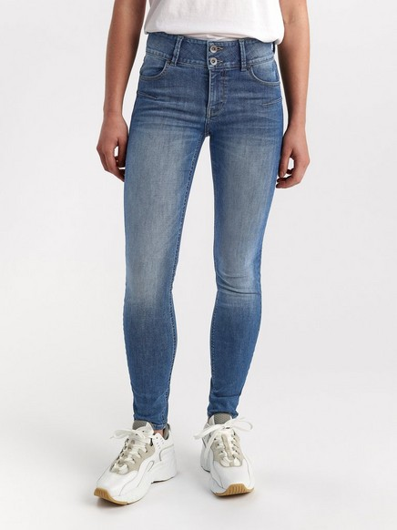LILLY Blå slim fit shaping jeans Blå