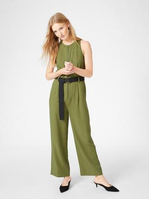 Jumpsuit with Belt Green