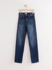 NEA Mörkblå raka jeans med high waist Blå