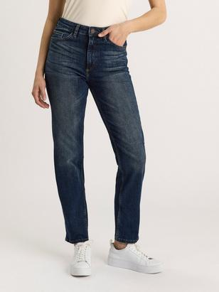NEA Dark blue straight jeans with high waist  Blue