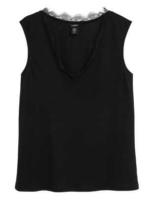 Lyocell Tank Top with Lace Black